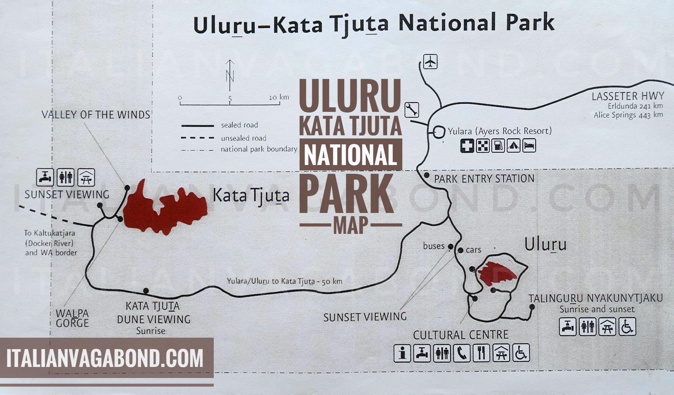 Map Of Australia Showing Uluru.Uluru Map Walks Explore Ayers Rock Mala Walk And Full Base Walk