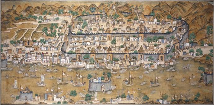 una mappa dell'antica Guangzhou