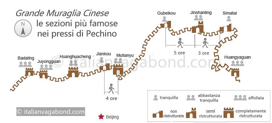 muraglia cinese mappa con durata escursioni