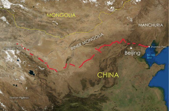 muraglia cinese mappa estensione attuale