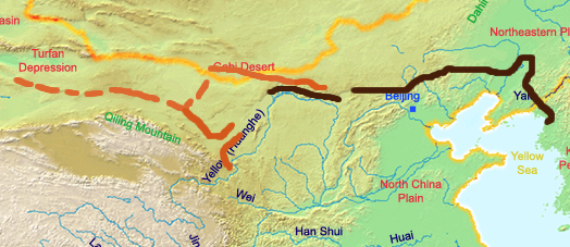 muraglia cinese mappa han