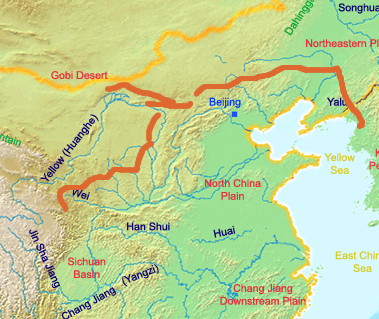 muraglia cinese mappa qin